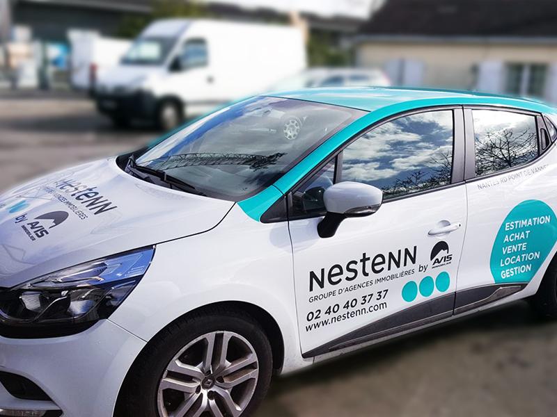 Marquage et pose d'adhésifs pour véhicule commercial pour Nestenn
