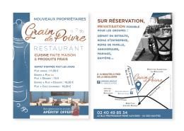 Refonte identité visuelle - Flyer format A5 pour promouvoir le restaurant Le Grain de Poivre à Nantes