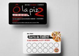 Carte de fidélité avec tampon - pizzeria Bouaye