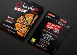 Flyer, menu A5 - pizzeria Bouaye