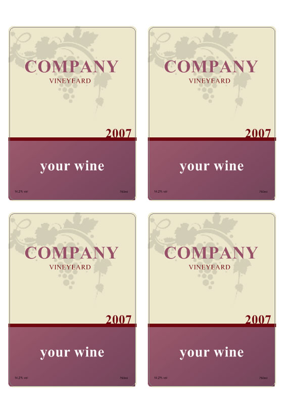 wine label template personilize