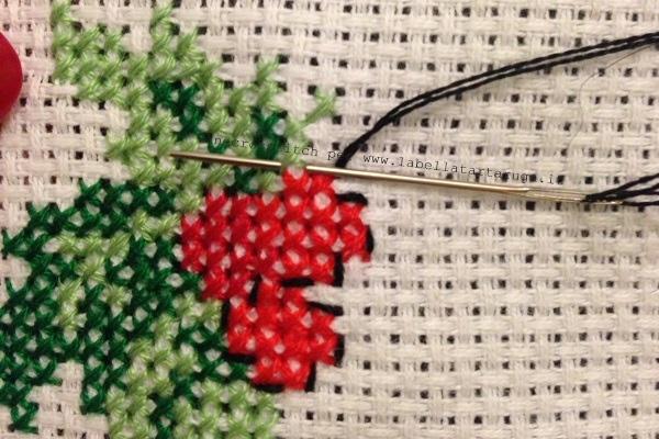 decorazione Natale ricamo punto scritto