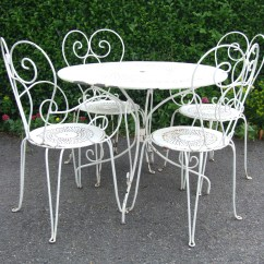 Antique Cast Iron Garden Table And Chairs Fold Away G181 S Lovely Vintage French Wrought Patio