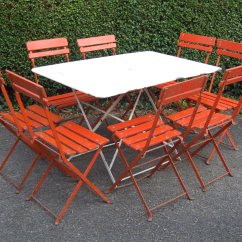Orange Cafe Chairs Vitra Office Chair Price G182 Set Of 8 Vintage French Folding Garden Patio