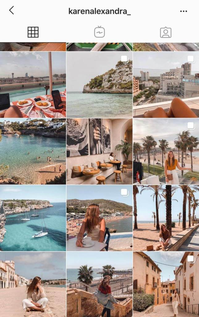 Instagram feed for travel blogger and content creator  Karem Alexandra