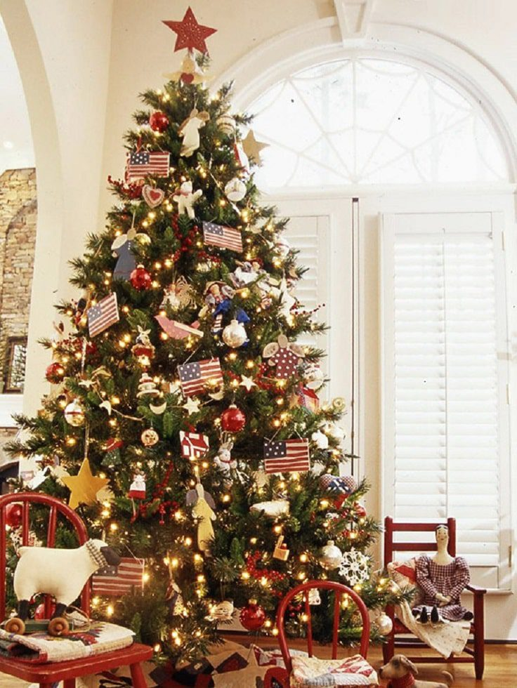 Patriotic Christmas Tree | Want ideas for unique Christmas trees for the 2020 holiday season? Find inspiration ideas for your Christmas tree decoration from creative and unique xmas trees. From white, upside down, best Christmas trees on wall, pink Christmas trees, and even Disney Christmas tree decorations. From big and small unique Christmas tree ideas. Perfect for kids and for the holidays. #uniquechristmastree #christmastreeideas #christmastreeideas #christmas