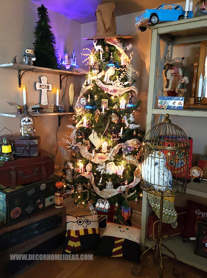 A Magical World of Harry Potter Unique Christmas Tree | Want ideas for unique Christmas trees for the 2020 holiday season? Find inspiration ideas for your Christmas tree decoration from creative and unique xmas trees. From white, upside down, best Christmas trees on wall, pink Christmas trees, and even Disney Christmas tree decorations. From big and small unique Christmas tree ideas. Perfect for kids and for the holidays. #uniquechristmastree #christmastreeideas #christmastreeideas #christmas