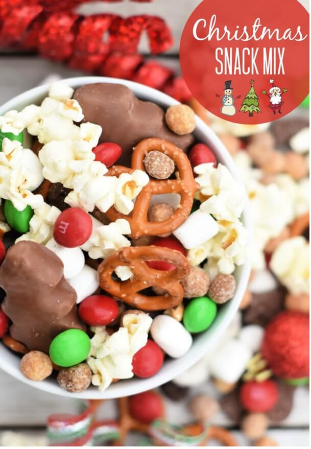 Christmas Snack Mix | Want to serve your guests the best Christmas party appetizers this year? Find a list of 40+ Christmas appetizers ideas & easy recipes for Christmas party appetizers, both sweet and savory holiday food. From elegant Christmas finger food ideas to easy dips, and simple crockpot holiday appetizers, (vegetarian, keto and even gluten-free appetizer ideas), perfect for a crowd and for kids. #christmaspartyappetizers #appetizersforchristmasparty #christmasparty #fingerfood #christmasfood