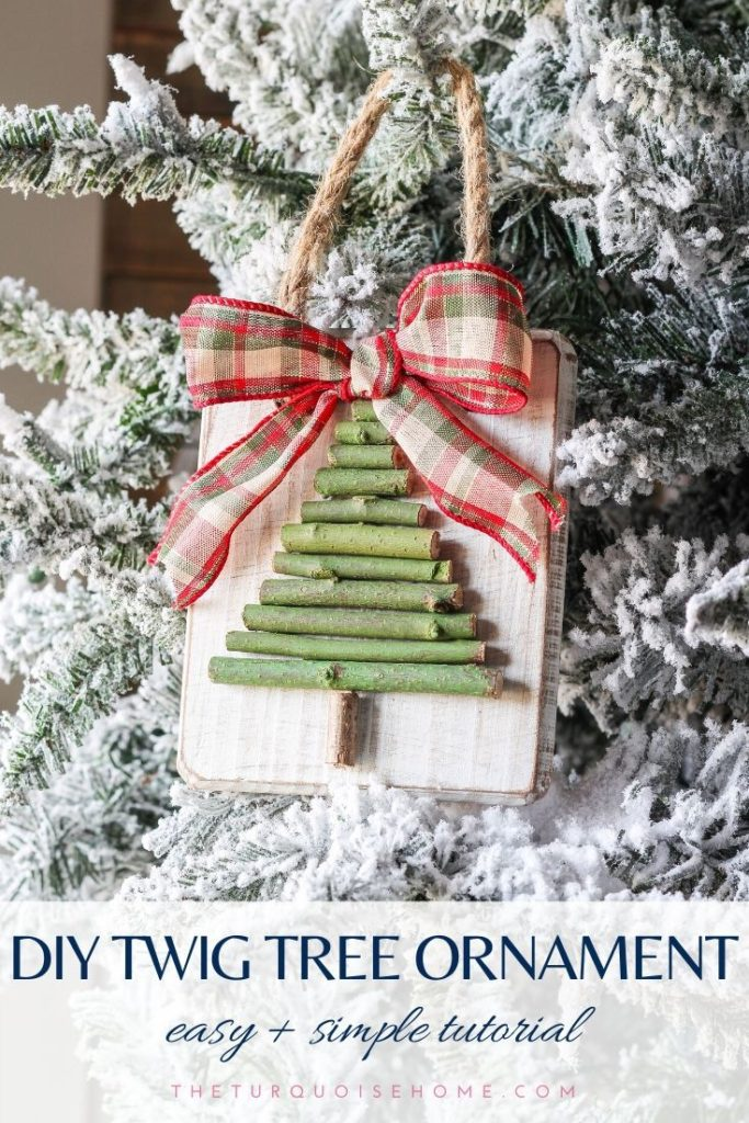 Farmhouse inspired Tree Ornaments hanging from a snowy xmas tree
