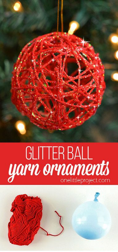 Glitter Ball Yarn Christmas Ornament | Want to make Christmas tree decorations yourself this year? Find the most creative DIY Christmas tree ornaments ideas. Get inspired by rustic Christmas tree decorations, Xmas ornaments DIY easy for kids and all the cutest homemade Christmas tree decor found on Pinterest. Perfect for children and for the end of year holiday season at home. #christmastreeornaments #christmasdiy #christmastreeideas #diychristmasdecor
