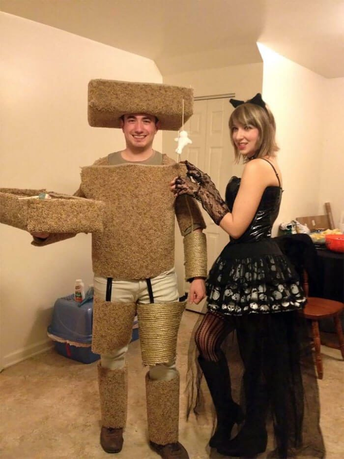Black Cat and Scratcher Costume for Couples | Looking for iconic couples costume Halloween ideas for 2020? Find the best couples Halloween costume ideas, perfect for matching with your boyfriend. Find hot couples costume ideas, cool Disney characters costumes and the best DIY, funny, and scary couples Halloween costume inspiration. #CouplesCostumeHalloween #couplescostume #halloweencouples #halloween