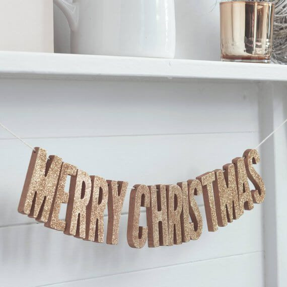 Rose Gold Glittery Letters | Want ideas for a themed Christmas decor this year? There is nothing more elegant and feminine that pink gold decor and the sky is the limit when looking for pink gold Christmas decoration. From pink Christmas tree, elegant gold pink Christmas decoration and ornaments, gold pink xmas wreaths, gold pink ideas DIY and the cutest gold pink Christmas decor from the dollar store. #pinkchristmas #pinkgoldchristmas #pinkchristmasdecor #pinkchristmasaesthetic #themedchirstmas
