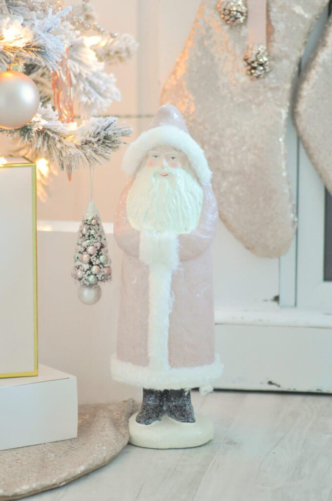 Vintage Rose Gold Christmas Figures | Want ideas for a themed Christmas decor this year? There is nothing more elegant and feminine that pink gold decor and the sky is the limit when looking for pink gold Christmas decoration. From pink Christmas tree, elegant gold pink Christmas decoration and ornaments, gold pink xmas wreaths, gold pink ideas DIY and the cutest gold pink Christmas decor from the dollar store. #pinkchristmas #pinkgoldchristmas #pinkchristmasdecor #pinkchristmasaesthetic #themedchirstmas