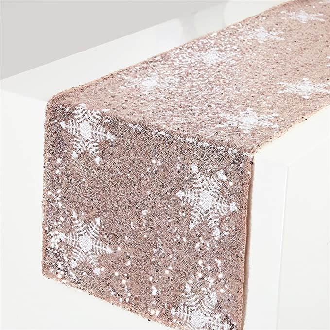 Rose Gold Sequins Table Runner for End of Year Parties | Want ideas for a themed Christmas decor this year? There is nothing more elegant and feminine that pink gold decor and the sky is the limit when looking for pink gold Christmas decoration. From pink Christmas tree, elegant gold pink Christmas decoration and ornaments, gold pink xmas wreaths, gold pink ideas DIY and the cutest gold pink Christmas decor from the dollar store. #pinkchristmas #pinkgoldchristmas #pinkchristmasdecor #pinkchristmasaesthetic #themedchirstmas