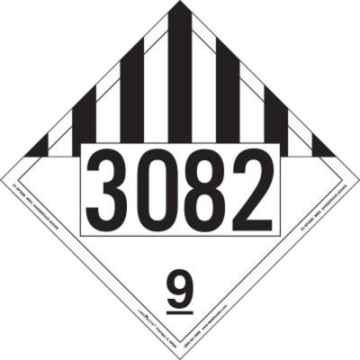 Miscellaneous Dangerous Goods Placard, UN 3082, Aluminum