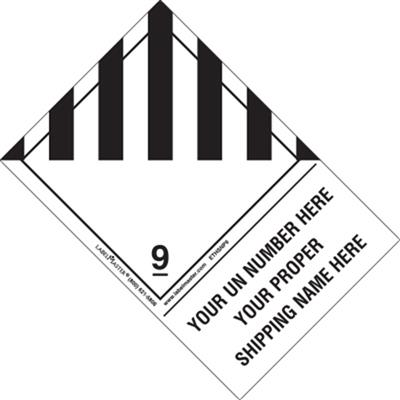 Personalized Miscellaneous Dangerous Goods Label, Shipping