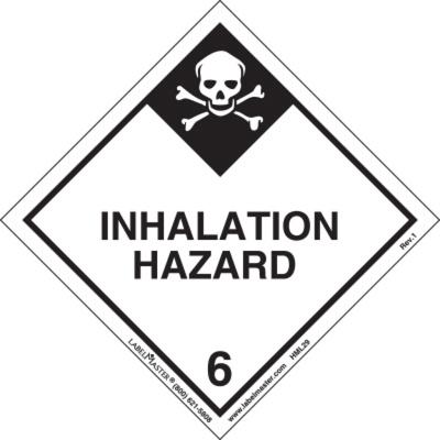 Inhalation Hazard Label, Worded, Paper, Pack of 50