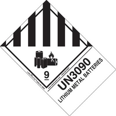 UN3090 Lithium Metal Batteries Label, Ext. Tab, Roll of