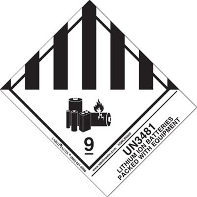 UN3481 Lithium Ion Batteries Packed with Equipment Label