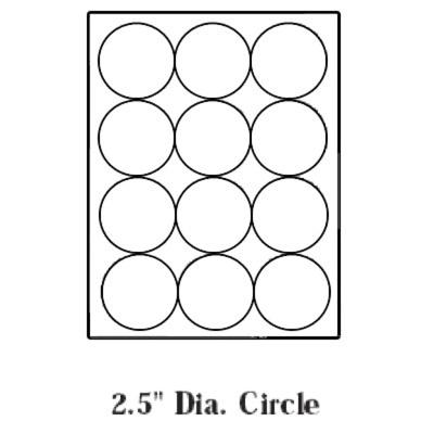 Blank Paper Die-Cut Laser Labels, 2.5