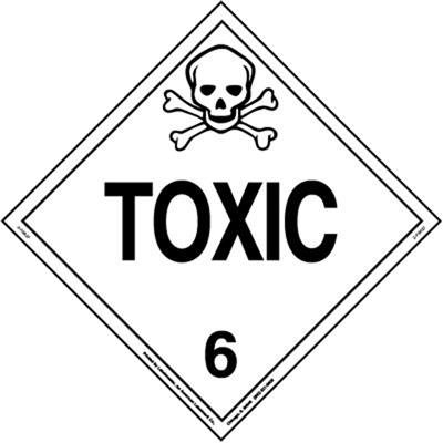 Toxic Placard, Worded, Removable Vinyl, Pack of 25