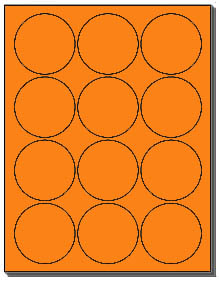 1200 Fluorescent Orange 25 Inch Circle Or Round Laser Labels Use Avery 5294 Template 12