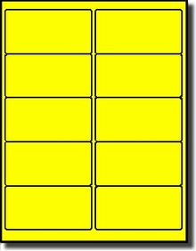 Fluorescent Yellow Labels 10 Labels Per Sheet Avery 5163