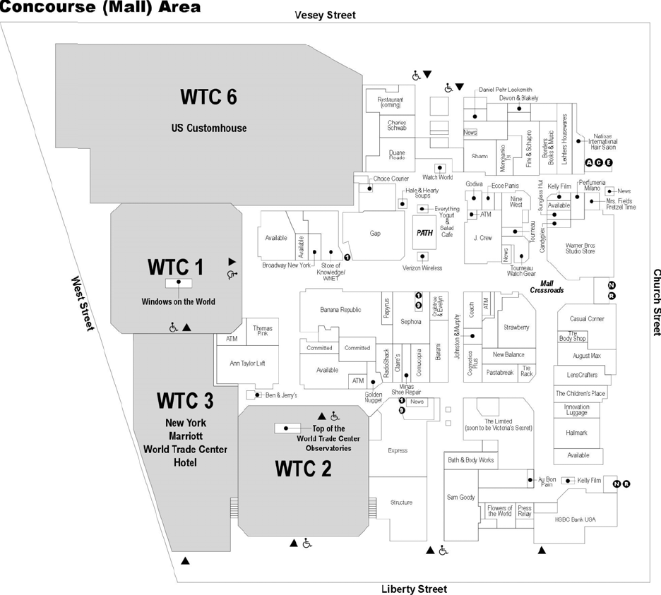 medium resolution of the mall at the world trade center concourse map created by the national institute of
