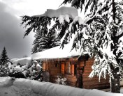 Beautiful chalets in the snow