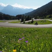 motorcycle rides on bendy roads in the French Alps