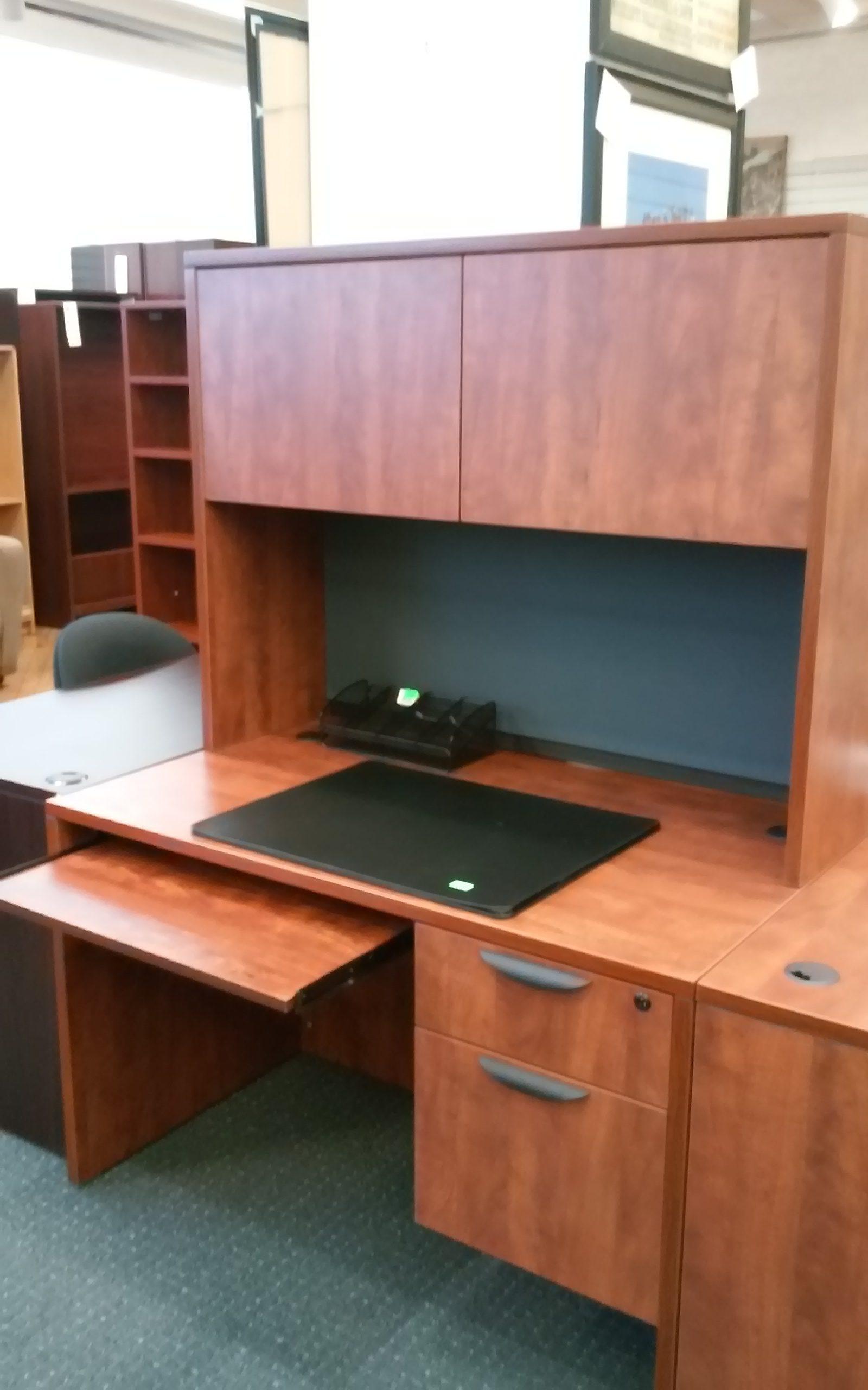 Office Source Desk w BoxFile Tack Board Keyboard Tray