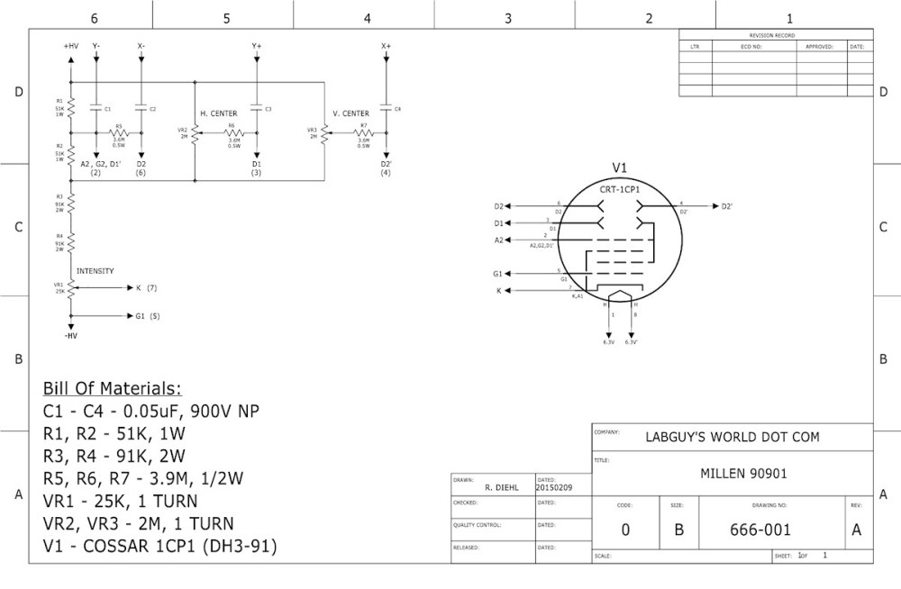 medium resolution of schematic diagram of the james millen co 90901 one inch oscilloscope 20150207