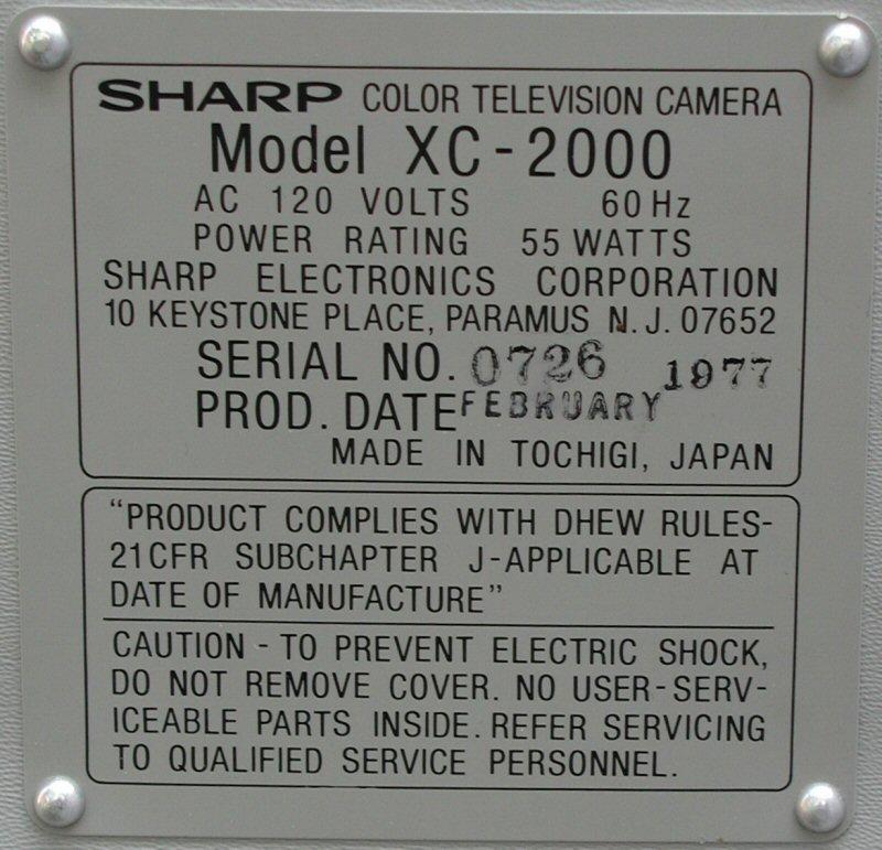 LabGuy's World: 1984 Sharp QC-54 Single Tube Color Camera