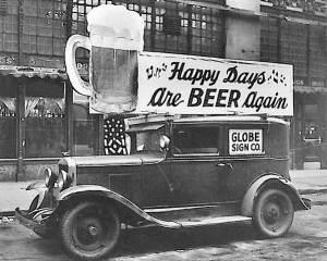 Voiture publicitaire bière vintage