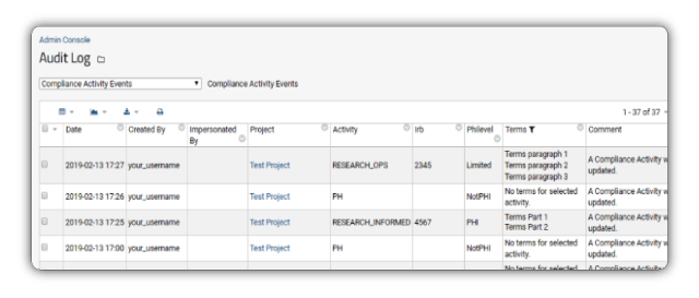 LabKey Server compliance features allow audit logging of all data access and activities.