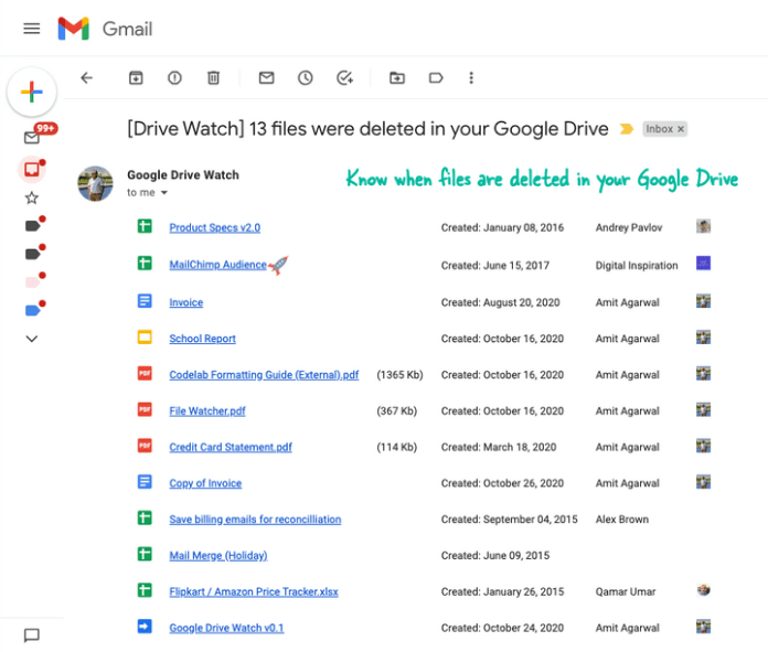 Google Drive Monitor - Get Email Alerts When Files are Deleted in your Drive