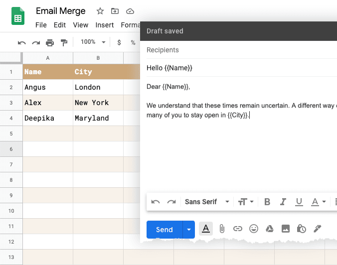 Template Fields in Mail Merge