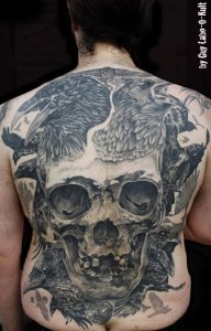 """Backpiece """"Skull and Crows"""" by Guy Labo-O-Kult - 2013"""