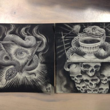 """Charcoal Drawing """"Arkhaeon"""" by Guy Labo-O-Kult"""