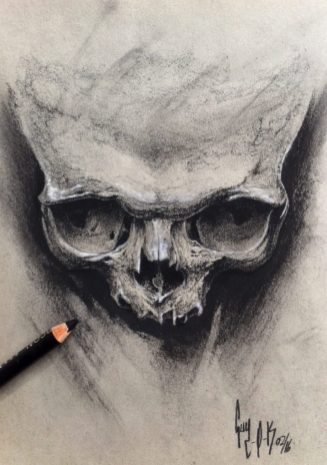 "Charcoal Drawing ""A Skull A Day"" by Guy Labo-O-Kult"