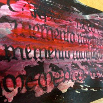 "Calligraphy ""Memento Mori"" with ""Hutzli Fraktur Script Minuscle"", gouache"