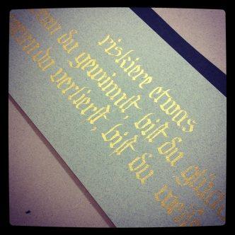 "Golden Calligraphy ""Hutzli Fraktur Script Minuscle"""