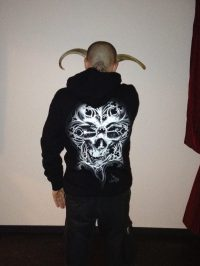 "Guy Labo-O-Kult posing with our ""O Tempus Edax"" Hoodie"