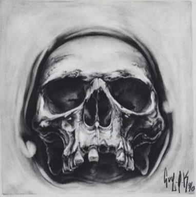 "Charcoal Drawing by Guy Labo-O-Kult ""Opening Skull"""