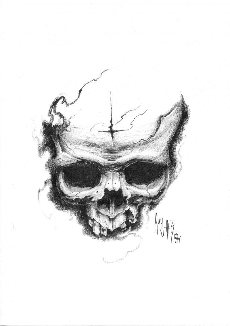 "Pencil Drawing ""Returned Cross Skull"" Guy Labo-O-Kult"