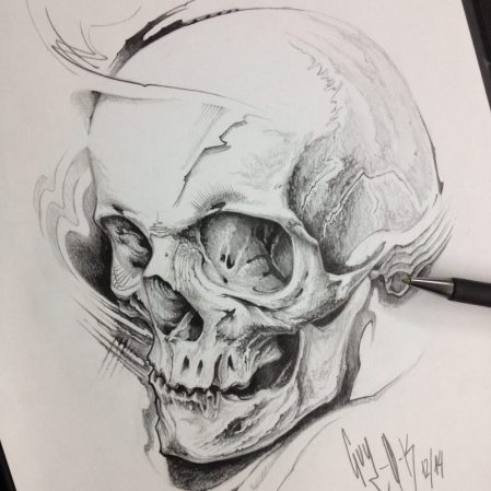 "Pencil Drawing ""Frag Skull"" Guy Labo-O-Kult"