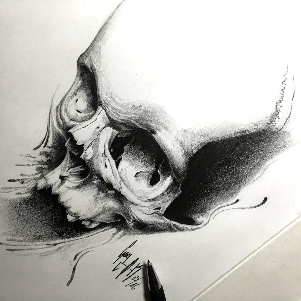 """Pencil Drawing """"Sperm-O-Skull"""" Guy Labo-O-Kult"""