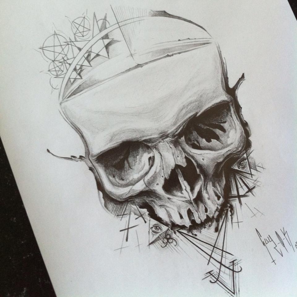 "Pencil Drawing ""Symbols Skull"" Guy Labo-O-Kult"