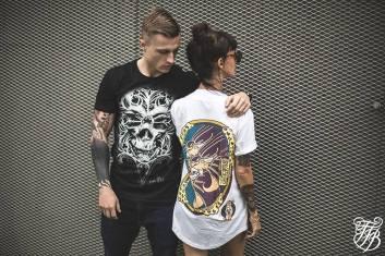 "TFB (Tattoo Fest Branding"" model posing with ""O Tempus Edax"" t-shirt"