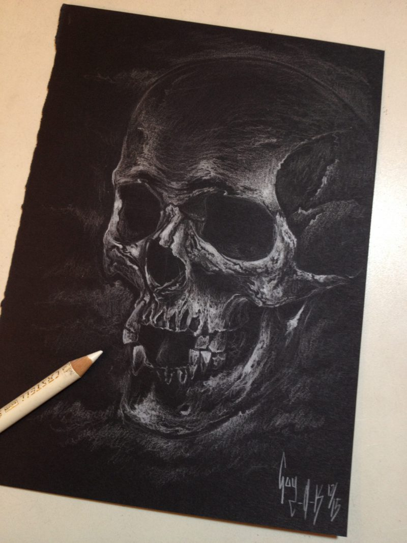 """Charcoal Drawing """"White Skull"""" by Guy Labo-O-Kult"""